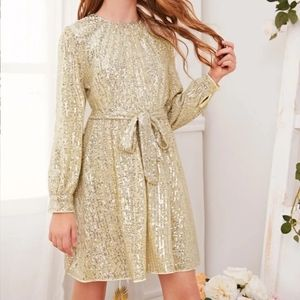 Girls gold sequin dress